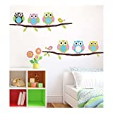 Adorable Adhesive Rooms Walls Vinyl DIY Stickers / Murals / Decals / Tattoos With Owls, Birds And Trees Branches Designs In Many Colours By VAGA