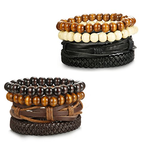 LOYALLOOK+4-8pcs+Mixed+Wrap+Leather+Wristbands+Bracelets+and+Wood+Beads+Bracelet+Set+for+Men+Women+7-8.5inches+Adjustable+Black%2FBrown