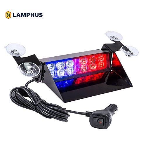 (LAMPHUS SolarBlast SBWL26 Emergency Vehicle LED Dash Light [12W LED] [32 Flash Patterns] [Adjustable Mounting] [Multiple Colors Available] - Strobe Light for Dash, Deck & Windshield - Blue Red)