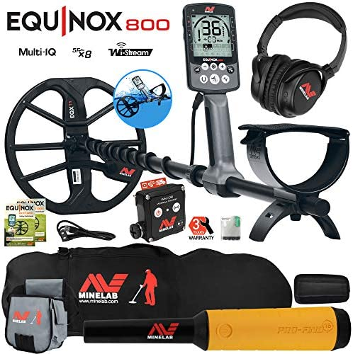 Minelab Equinox 800 Metal Detector w Pro Find 15, Carry Bag, Finds Pouch
