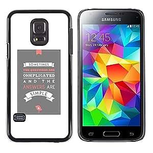 Be Good Phone Accessory // Dura Cáscara cubierta Protectora Caso Carcasa Funda de Protección para Samsung Galaxy S5 Mini, SM-G800, NOT S5 REGULAR! // White Grey Poster Love Inspirin