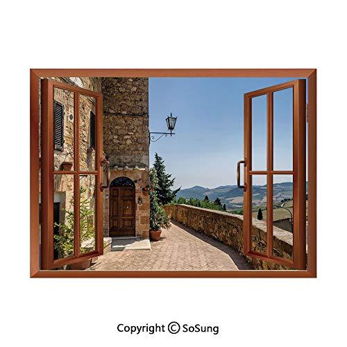 (Italian Decor Removable Wall Sticker/Wall Mural,The Walls of Pienza in Tuscany Historical European Landmark Creative Open Window design Wall Decor,24