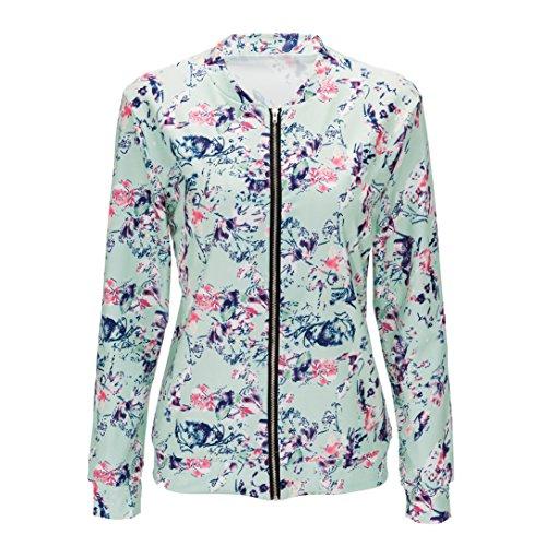 Rosa Blu Esterni Sottile Cappotti Abbigliamento Casual Donna Nero M Hibote Indumenti Camicette Moda 2xl Fiori Giacche Floreali Stampa Autunno SZ6H4