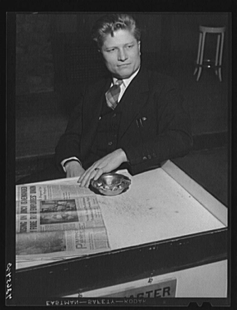 Reproduced Photo of Lucien Koch, organizer in Quincy, Massachusetts for the IUMSWA Industrial Union of Marine and Shipbuilding Workers of of America. He is active in organizing 1940 Delano C Jack 34a