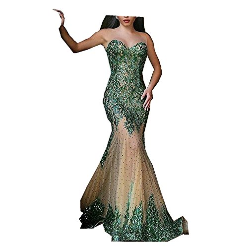 Uryouthstyle 2017 Beling Beling Mermaid Prom Gowns See Through Evening Dresses US2 Green
