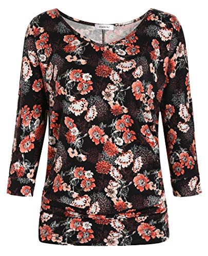 - Esenchel Women's V-Neck Dolman Top 3/4 Sleeve Drape Shirt L Coral Rose