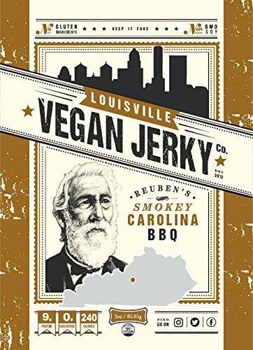 Louisville Vegan Jerky - Smokey Carolina BBQ, 3 oz. Bag (Pack of 5)