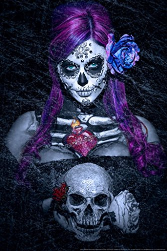 Day of The Dead Blues by Daveed Benito Cool Wall Decor Art Print Poster 24×36