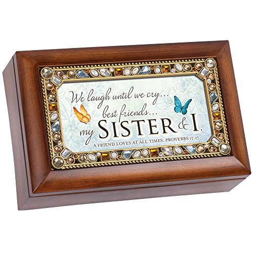 Wind Up 17 Jewels - Best Friends My Sister Woodgrain Jewel Beaded Petite Music Box Plays How Great Thou Art