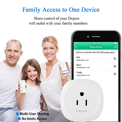 Dxpow Smart Plug Outlet, Mini Wireless WiFi Smart Plug Socket, Compatible with Alexa Remote Control By Smartphone from Anywhere Anytime, Switch On/Off, Timing Function, No Hub Required (2 Pack) by Dxpow (Image #8)
