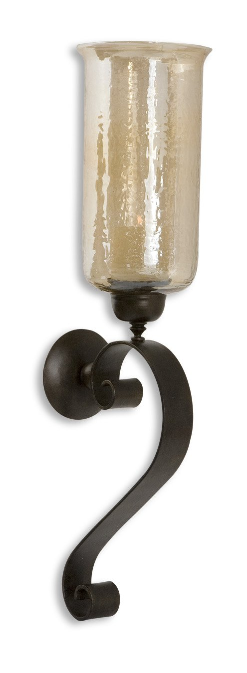 Zinc Decor Tuscan Scrolled Bronze Metal Amber Glass Candle Wall Sconce Large 30'' Farmhouse