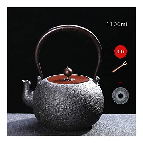Nwn Japanese Style Cast Iron Teapot with Pot fork, Chinese Trivet, 1.1L(38.7oz), Black