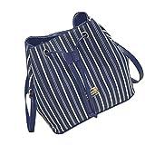 GBSELL Fashion Women Stripe Bucket Bag Crossbody Messenger Shoulder Bag (Blue, Big)