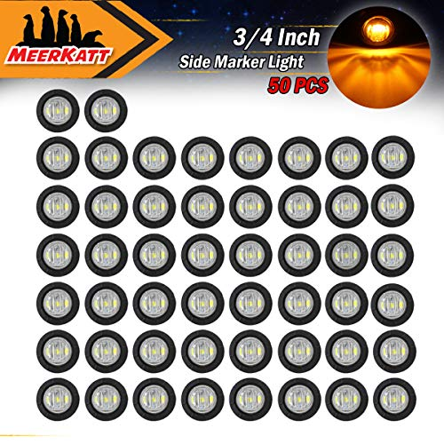 Meerkatt (Pack of 50) 3/4 Inch Mini Small Round Clear Lens Amber LED Button Clearance Lamp Universal Side Marker Indicator Light Waterproof Marine Truck Bus Trailer Jeep RV Lorry Van 12V DC grommets