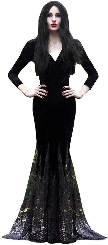 HALLOWEEN BLACK STITCHED UP CHOKER NECK LACE FANCY PARTY DRESS