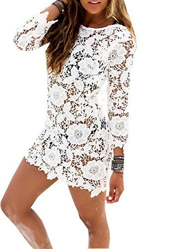 Women Summer Crochet Beachwear White - 8