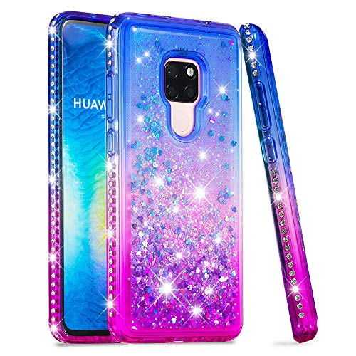 Price comparison product image Huawei Mate 20 Case,  Futanwei [Gradient Colorful+Quicksand+Diamond Bumper] Soft TPU Case for Girls Glitter Crystal Design Sparkle Bling Luxury Cover for Huawei Mate 20 [NOT fit Mate 20 Pro] BluePurple