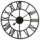 Roman Round Clock, Timelike Handmade Large Wall Clock Wrought Metal Wall Art Hanging Decorative Wall Sculpture Decor (50CM)