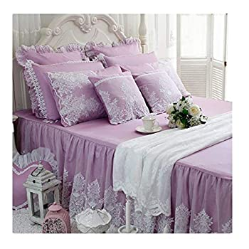 Image of Home and Kitchen Abreeze Purple Princess Bedding With Lace Ruffled Cotton Duvet Cover Sets 4PCS Full Size