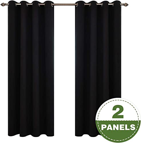 Fmfunctex Black Full Blackout Curtains for Bedroom Grommet Top 96 Long Window Curtain Panels, 2 Panels