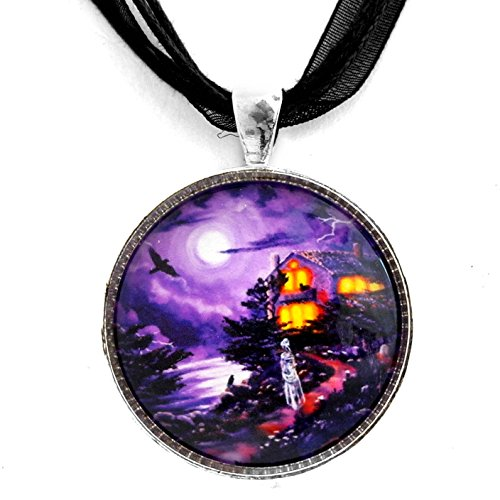 Laura Milnor Iverson Haunted House Raven Halloween Necklace Lenore Ghost Handmade Jewelry Art Pendant ()