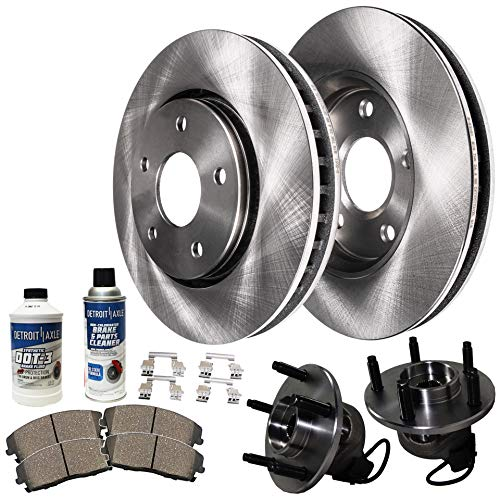 Detroit Axle - Front Wheel Hub Bearing Assembly, Disc Brake Rotors w/Ceramic Pads w/Hardware & Brake Cleaner for 04-08 Chevy Malibu - [05-08 Pontiac G6] - 07-08 Saturn Aura - [08-10 HHR SS] ()