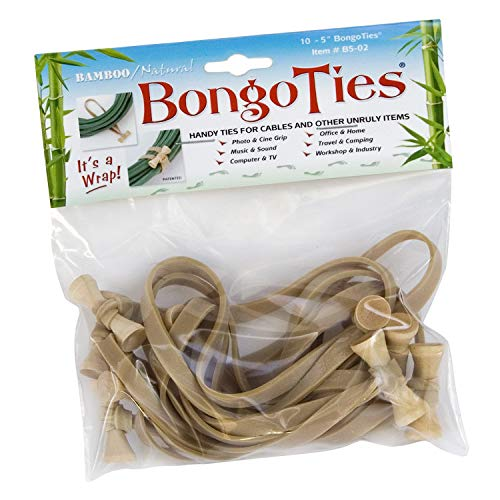 (BongoTies Natural Color Bongo Ties B5-02 ~ 10 Pack ~ Handy Ties for Cables and Other Unruly)