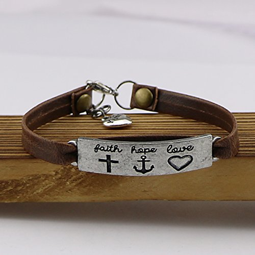 Yiyang Vintage Religion Bible Verse Leather Bangle Bracelet Easter Jewelry Gift Inspirational Bangle Faith Hope Love by Yiyang (Image #3)