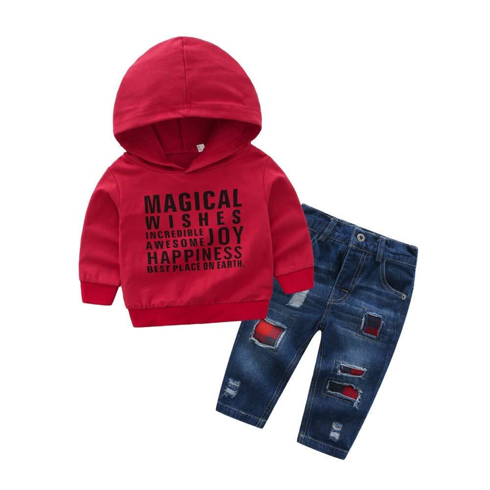 Vêtements Bébé Garçon 1-5ans Ensembles Pantalons Haut en Automne en Coton Sweat-Shirt à Capuche Rouge + Jeans