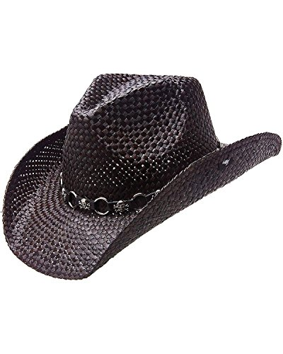 Skull Cowboy Hat (Peter Grimm Ltd Men's Vado Skulls And Rings Hat Band Straw Cowboy Black One Size)