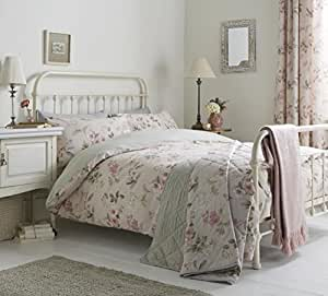 FLORAL FLOWERS LEAVES PINK GREEN COTTON BLEND CANADIAN TWIN (COMFORTER COVER 135 X 200 - UK SINGLE) (PLAIN SILVER GREY FITTED SHEET - 91 X 191CM + 25 - UK SINGLE) PLAIN SILVER GREY HOUSEWIFE PILLOWCASES 5 PIECE BEDDING SET