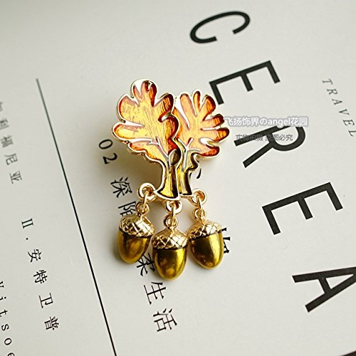 Number of multicolor drip glaze leaves pine cones brooch jewelry girls jewelry collar pin accessories new spot