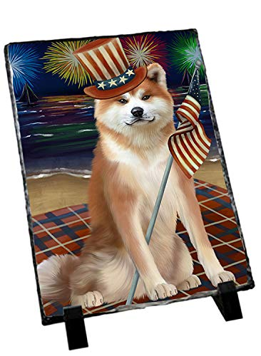 Slate Akita (4th of July Independence Day Firework Akita Dog Photo Slate SLT52388)