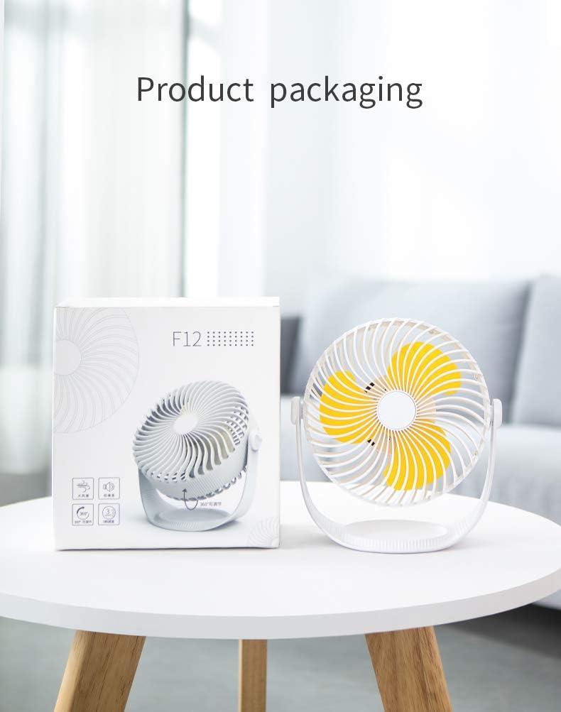Ventilador de Mesa USB, Ventilador de Mesa 360 ° Rotación, 3 Ajustable Velocidades Diseño Silencioso Ventiladores Personales para el Hogar Oficina, Hogar, Viajar, Acampar - Blanco Amarillo