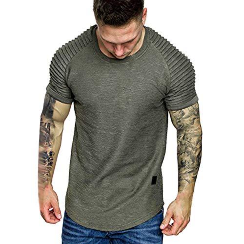 OrchidAmor 2019 Men's Summer Pleats Gradient Pattern Casual Fashion Lapel Short Sleeve Shirt Green