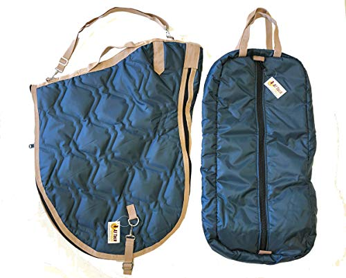 AJ Tack English Horse Saddle Carrier Bridle Bag Set All Purpose Saddle Navy Blue