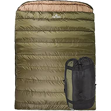 TETON Sports Mammoth 0F Queen Size Sleeping Bag Perfect for Base Camp while Cold Weather Camping, Backpacking, and Hiking; Green