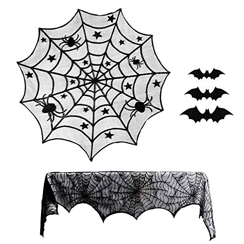 PALADY 40-Inch Black Spider Halloween Lace Table Topper Cloth for Halloween Table Decorations Spider Table Topper Lace with Halloween bat Wall Decals, Halloween Party Supplies Bats 3D Wall -