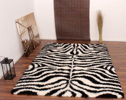 Teppich Hochflor Shaggy Muster Zebra Schwarz Weiss, Grösse:120x170 cm