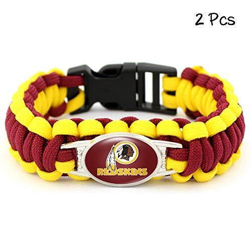 FANwenfeng Outdoor Football Team Badge Bracelet Survival Tactical Braided Parachute Cord Weave Wristband for Football Team Fans 2 Pcs (Washington Redskins)