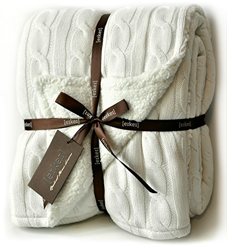 Cable Knit Sherpa Oversized Throw Reversible Blanket Faux