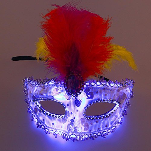 Aolvo Led Masquerade Mask, 7 Color Luminous Light Up Venetian Costume Mask with USB Rechargeable, Fashion Half Face Mask for Women Girls in Halloween, Venetian Pretty Party Evening Prom Ball Mask -
