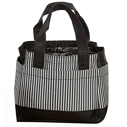 Kingwo Insulated Cold Canvas Stripe Picnic Carry Case,Thermal Portable Lunch Bag,Portable Large Space Elegant ()