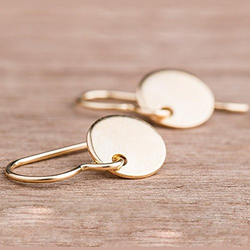 Round Disc Drop (Round Circle Disc dangle drop Earrings in 14K Yellow Gold Fill)