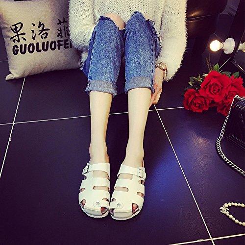 ZHANGRONG-- Zapatos Calados Baotou Femeninos De Verano De Gran Tamaño Planas Pantuflas Sandalias De Los Amantes ( Color : D , Tamaño : 41 ) A