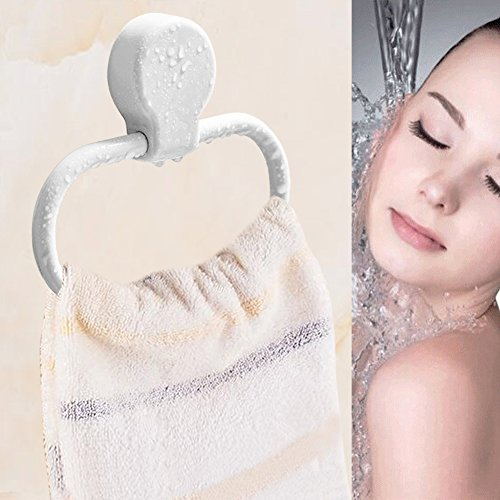 Plastic Towel Ring (LALADU No-Drill No-Hole Powerful Stick-up Plastic Towel Ring Holder for Bathroom or Kitchen, White (1PCS))