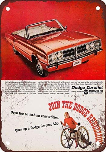 1966 Dodge Coronet 500 Convertible Vintage Look Reproduction Metal Tin Sign 8X12 inches