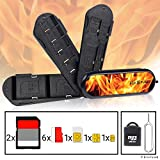Swiss Knife Type Memory Card Case - 3 Storage Blades - Including Micro SD Reader (USB) and Eject Pin - Fits 2x SD, 6x Micro SD, 1x Mini SIM, 1x Micro SIM and 1x Nano SIM - Ideal for Phones and Tablets