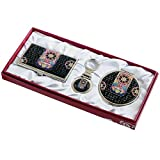 Nacre Mother of Pearl Business Card Holder Compact Mirror Keychain Gift Sets, Business Card Credit Id Card Case Makeup Cosmatic Mirror Key Holder Set Korea Traditional Design Design