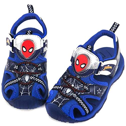 Joah Store Boys Light Up Summer Fisherman Sandals Spiderman Blue Shoes (Parallel Import/Generic Product) (8 M US -